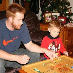 Dan and Levi playing Wa-hoo