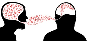 Dialogue - one person is speaking and one listening